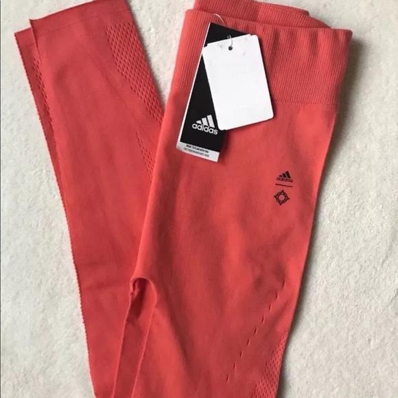28161f7024653 adidas Pants   Warp Knit Tights In Coral Orange Size S   Poshmark